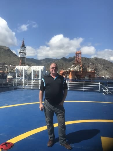 On ferry in Tenerife